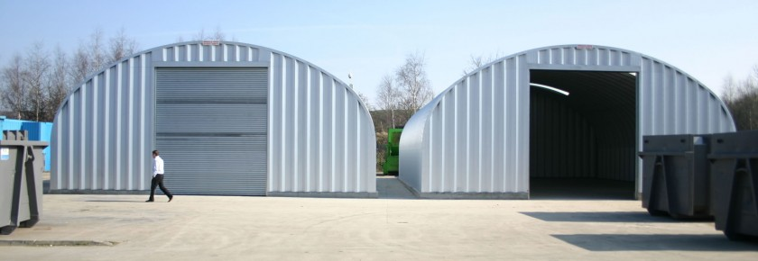 Two miracle span buildings for waste storage plant
