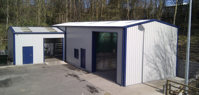 Storage buildings by miracle span steel buildings L shaped building