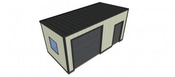 Home workshop building with roller shutter door
