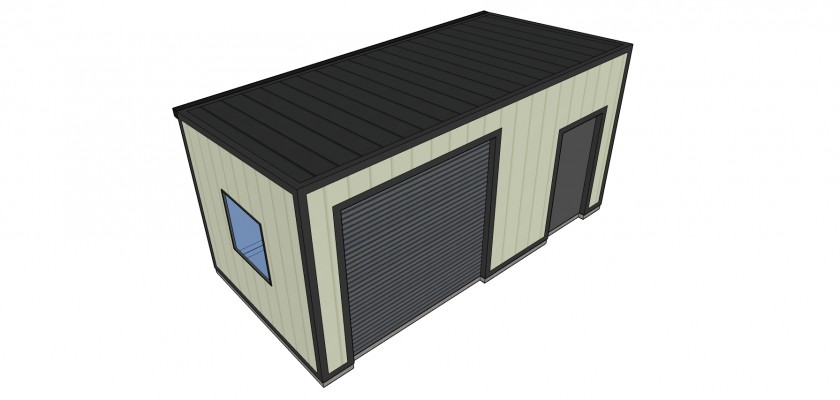 Home workshop building with roller shutter door