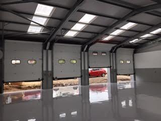 View inside new steel framed workshop extension