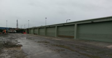 Storage Building with multiple roller shutter doors